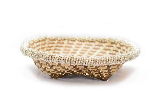 main product image of a Small Woven Basket with white beaded border, 9 inches wide