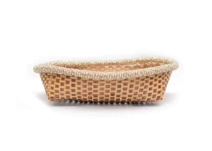 main product image of a Small Woven Basket with white beaded border, 11 inches wide