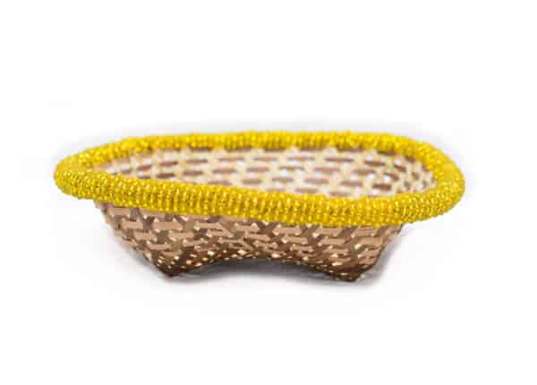 main product image of a Small Woven Basket with yellow beaded border