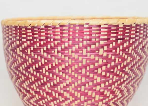 Close Up product image of small woven basket made from paja tetera natural fibers