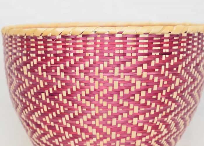Close Up product image of small woven basket made from paja tetera natural fibers