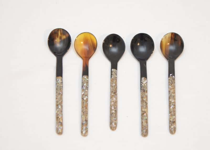 Picture of Five small spoons made from Horn and Mother of Pearl