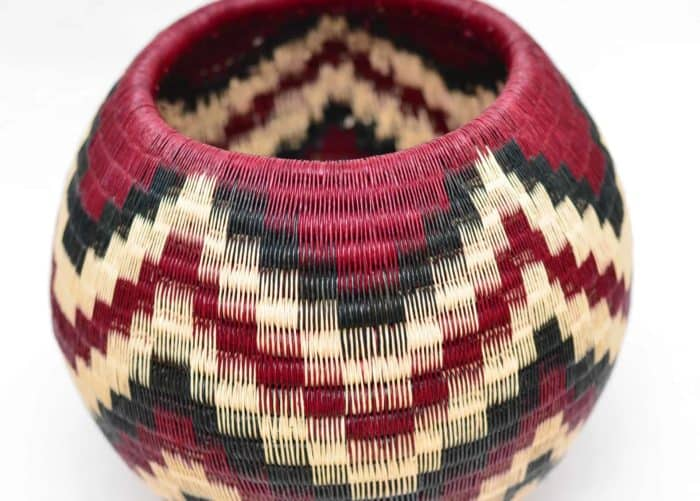 Decorative Vase in Burgundy Werregue with Black and White Pattern, Perspective Product Image