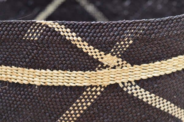 Close Up Product Image of Large Blue decorative Woven Basket with Handles