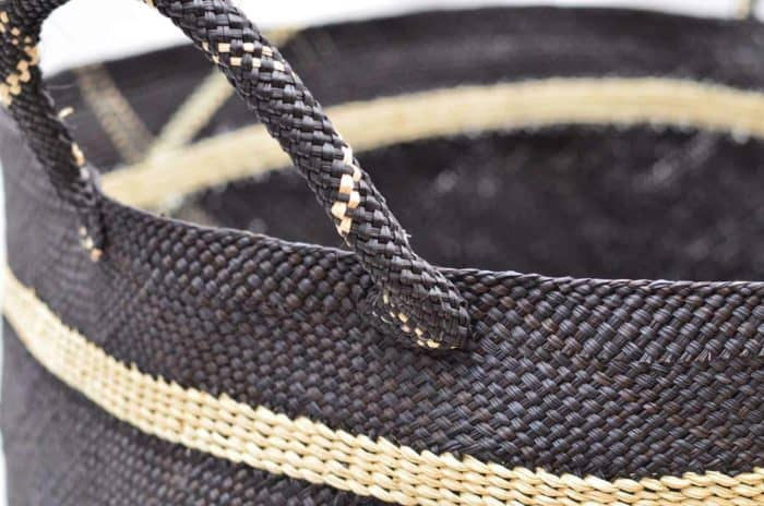 Close Up Product Image of the handle on a Large Blue decorative Woven Basket