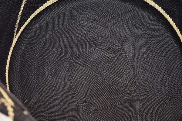 Close Up Product Image view of the inside of a Large Blue Iraca decorative Woven Basket