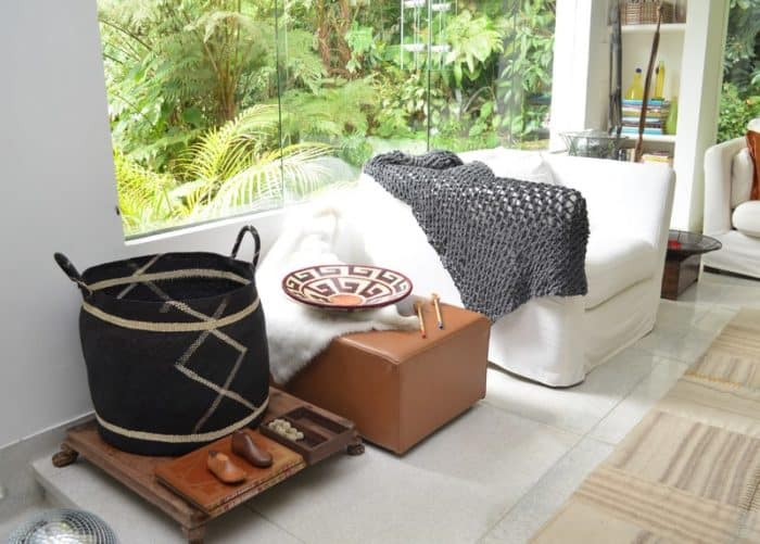 Picture of Midnight Blue Large Woven Basket in a White Living Room Setting