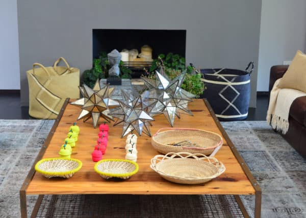 Picture of Large Iraca Woven Baskets, bread baskets and trays in a living room setting
