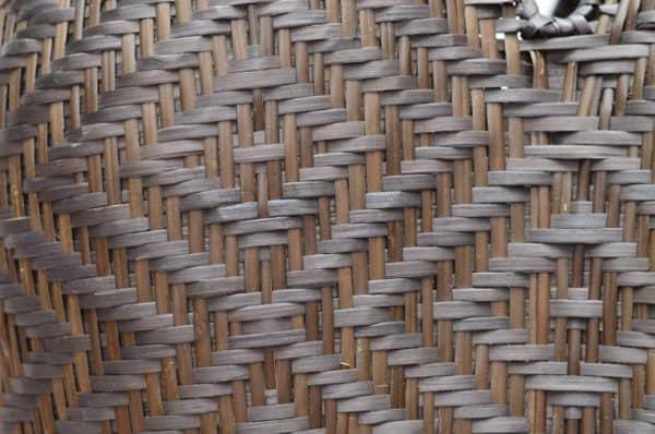close up picture of cuatro tetas basket in dark brown shrimp eye pattern