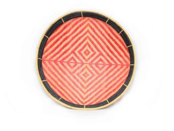 main product image of a small flat basket (aka. Balay) with a Red and White pattern that resembles a Tiger Skin and a Black Frame