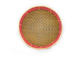 main product image of a small flat basket (aka. Balay) with a Yellow and dark brown pattern that resembles a Spider Web and a red frame