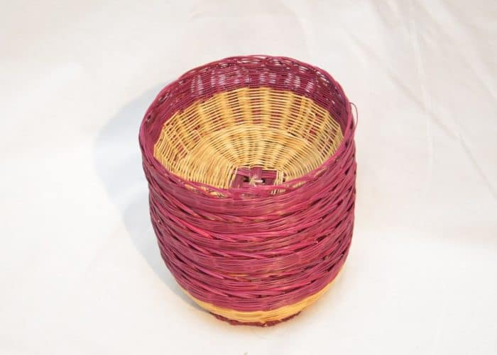 Pciture of various Woven bread baskets made from esparto natural fibers stack on top of each other