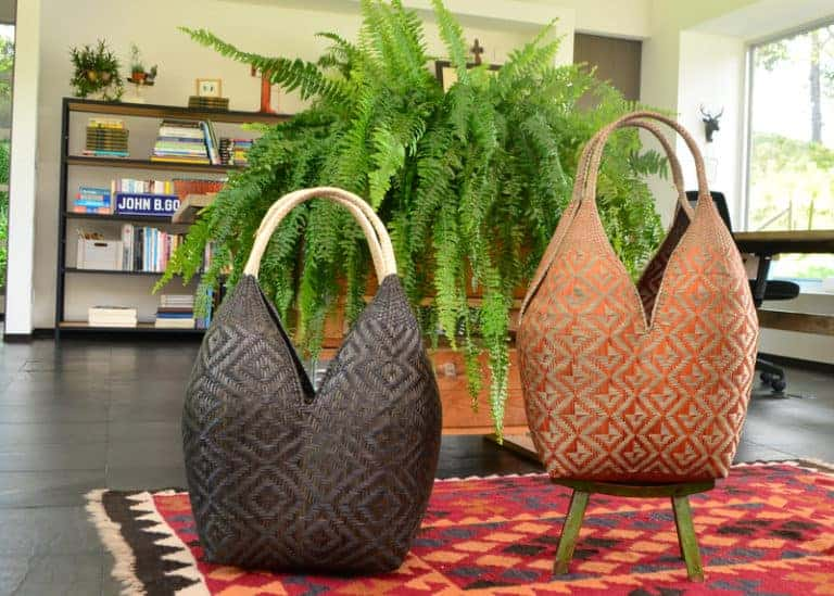 picture of two large decorative baskets featured in a beautifully designed living room