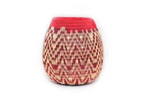 Decorative Vase in Red Werregue with White Pattern, Main Product Image