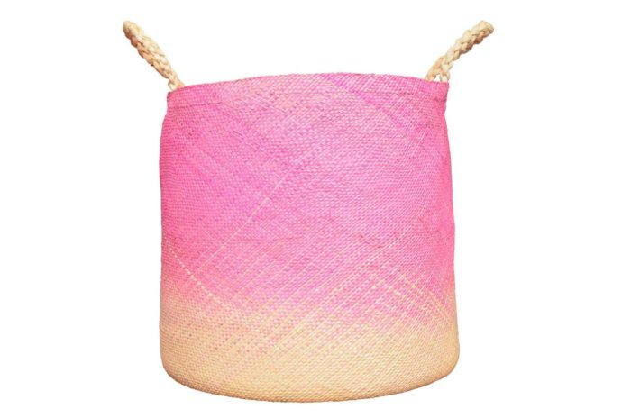 Kiskadee Design main product image of a Large Pink Woven Basket with Handles handmade from Iraca natural fibers in sando narino colombia