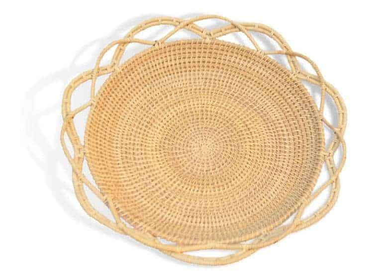 Kiskadee Design main product image of a decorative shallow bowl handmade from mamure natural fibers in the shape of a flower