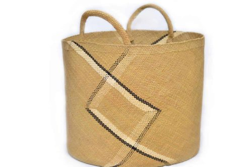 Main Product Image of a Large Woven Basket with Handles in Tan Iraca with Blue and White Stripe Pattern