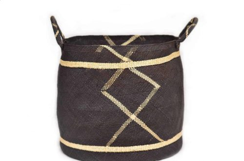 Main Product Image of a Large Iraca Woven Basket with Handles in Midnight Blue and Tan Pattern