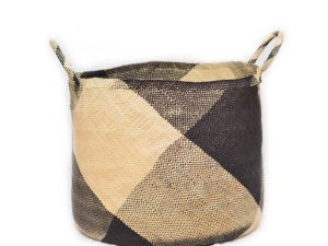 Main Product Image of a Large Woven Basket with Handles in Natural Iraca with Black Wide Stripe Pattern