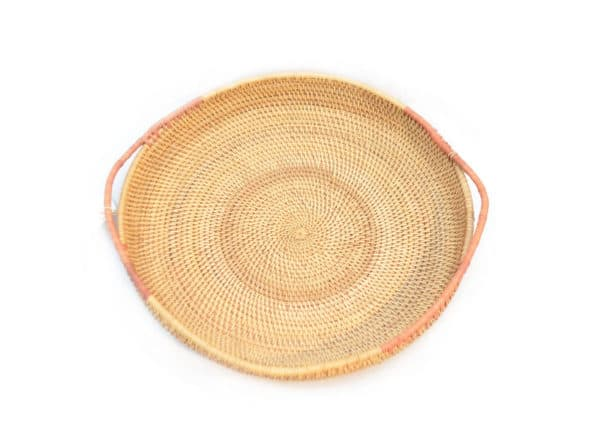 main product image of Round Serving Tray with Handles hand woven from Mamure natural fibers