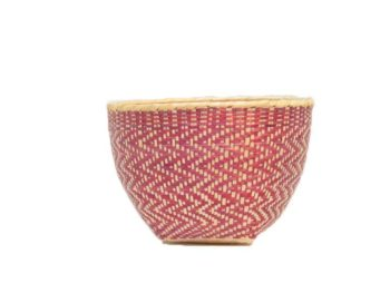 main product image of Small Woven Basket made from Paja Tetera in Pink and White Pattern