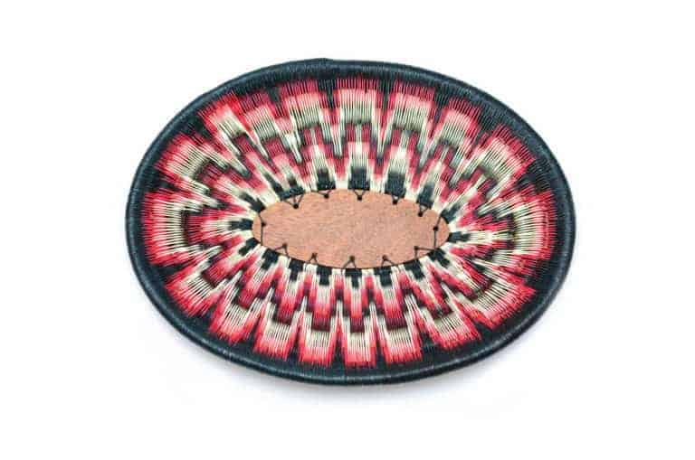 Kiskadee Design Catalogue Image of a Black, White and Red Wide Pattern Handmade Bowl by The Wounaan Tribe in The Colombian Pacific Coast
