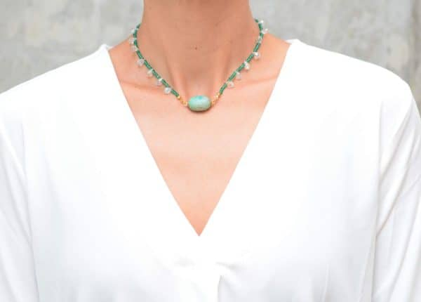 picture of a woman wearing a Amazonite Bead Necklace with Aquamarine Crystals and Faceted Crystal Drops by Kiskadee Design