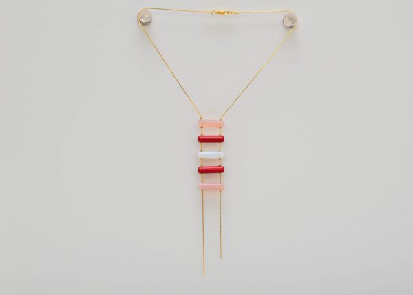 close up picture of a Ladder Murano Glass Bead Necklace with Gold-Filled Chain on white background by Kiskadee Design