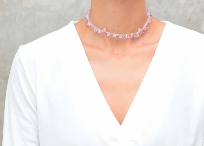 picture of a woman wearing a Pink and White Crystal Choker Necklace by Kiskadee Design