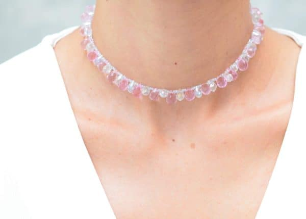 close up picture of a woman wearing a Pink and White Crystal Choker Necklace by Kiskadee Design