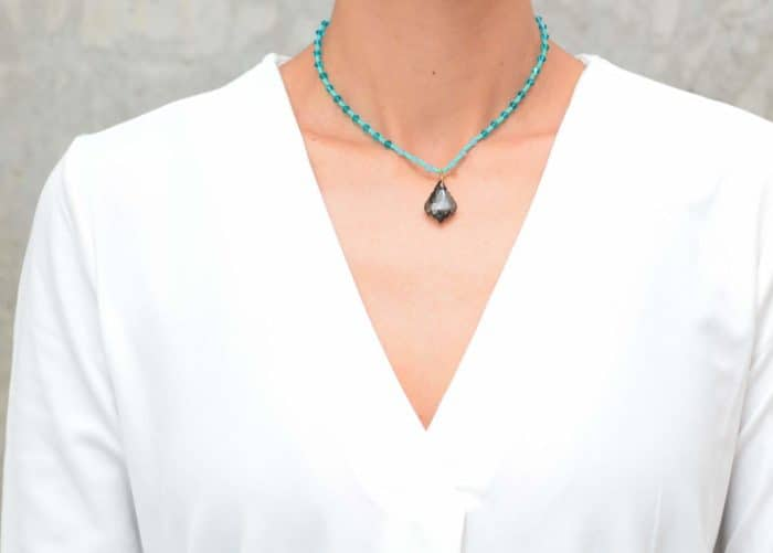 ACS030 Turquoise Bead Necklace with Aquamarine Crystal Accents and Grey Crystal Pendant (Main product image)