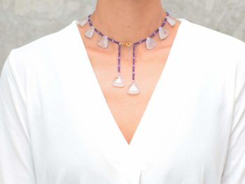 picture of a woman wearing aN Amethyst Bead Necklace with Lavender Quartz Accents by Kiskadee Design