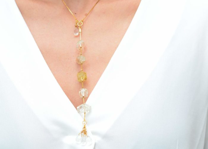 close up picture of a woman wearing a Raw Citrine Necklace with Delicate Gold-Filled Chain by Kiskadee Design