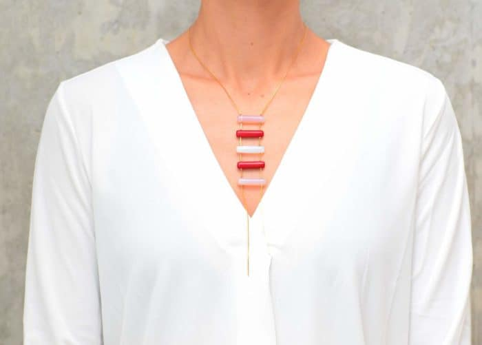 picture of a woman wearing a Ladder Murano Glass Bead Necklace with Gold-Filled Chain by Kiskadee Design