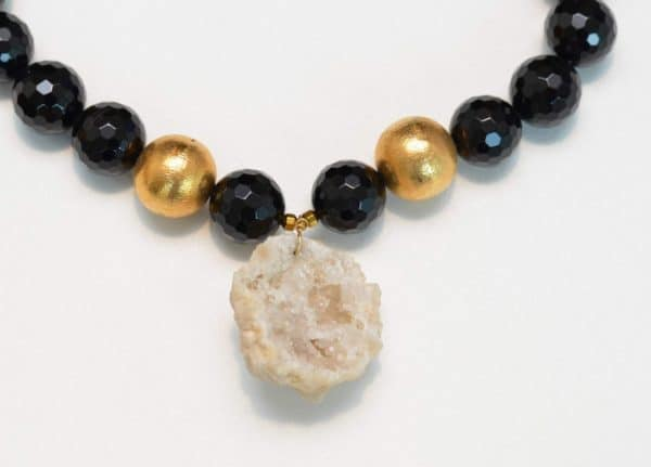 additional close up picture of a Druzy Geode Pendant on Black Onyx Necklace with Gold Filled Accent Beads on white background by Kiskadee Design