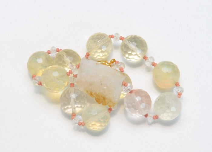 close up picture of a Citrine Quartz Necklace with Smoky Quartz Beads on white background by Kiskadee Design