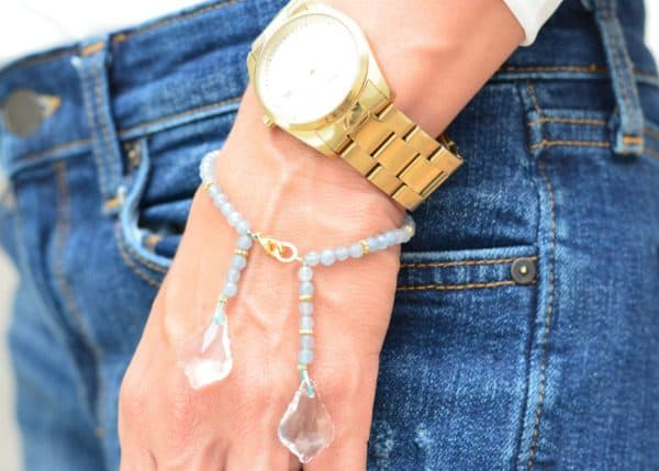 close up picture of an Agate Bead Bracelet with Crystal Accentswoman wearing a by Kiskadee Design
