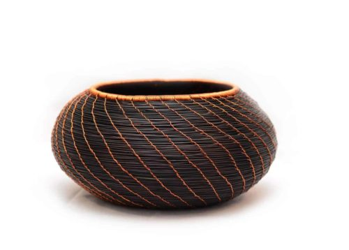 Main product image of Decorative Bowl made from Esparto in Dark Blue with Copper Wire Accent