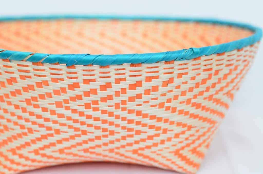 Close Up Product Image of colorful Bread Basket made of Paja Tetera in Aqua and Orange