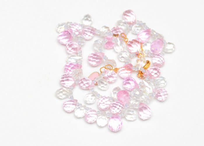 close up picture of a Pink and White Crystal Choker Necklace on white background by Kiskadee Design