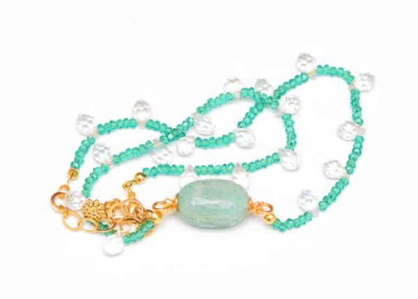 close up picture of a Amazonite Bead Necklace with Aquamarine Crystals and Faceted Crystal Drops on white background by Kiskadee Design