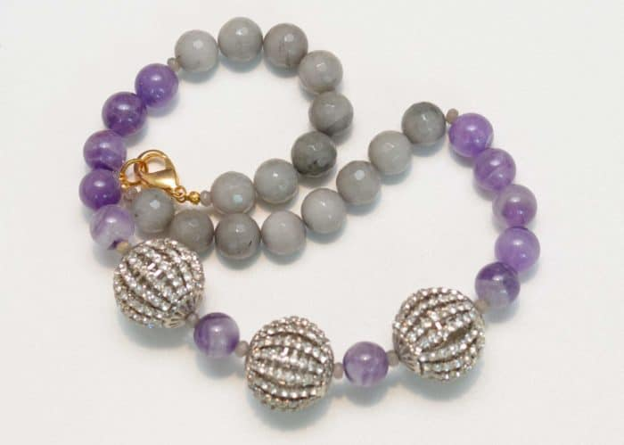 close up picture of an Amethyst Bead Necklace with Grey Agate and Crystal Accents on white background by Kiskadee Design