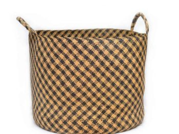 Main Product Image of a Large Woven Basket with Handles in Tan Iraca with Black Stripe Pattern