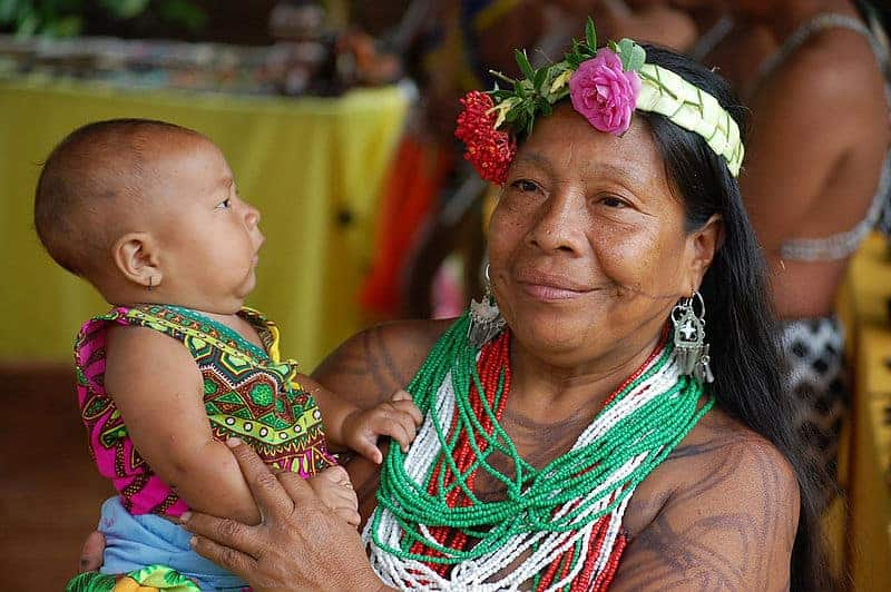 Wounaan Woman and Baby