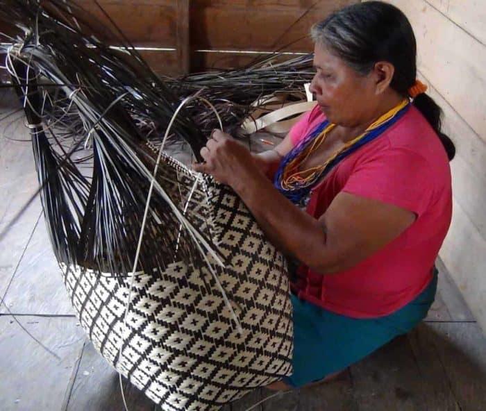 Picture of an Eperaara Siapiaara Woman weaving a cuatro tetas basket