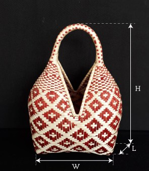 image of an small cuatro tetas basket showing product dimensions