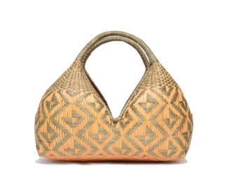 main product image of a cuatro tetas bread basket in grey and beige butterfly pattern