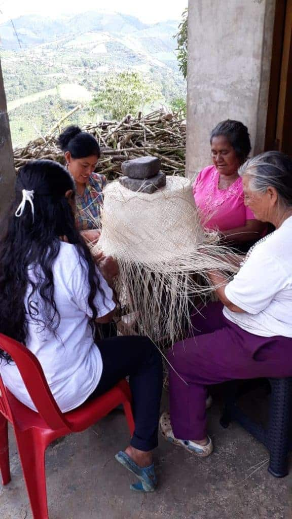 Picture of four women from sandona working on an extra large woven basket made from iraca palm fibers