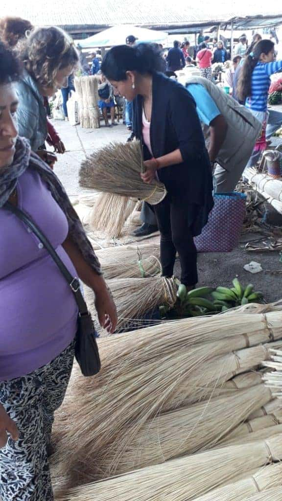 Picture of a woman artisan in Sandona, Nariño picking between bundles of dried iraca in the town's market
