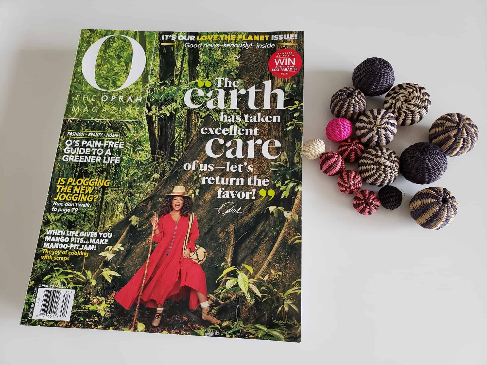Picture of the front cover of a paper copy of the Oprah Magazine - April 2019 Issue